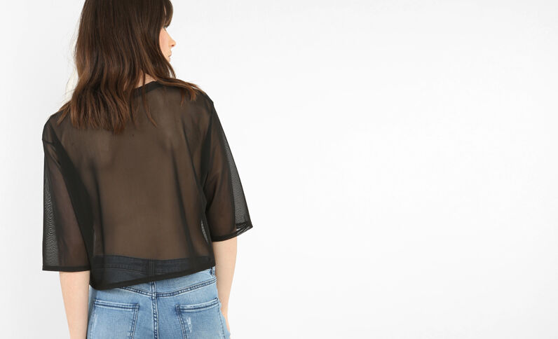 Kurzes T-Shirt aus Voile Schwarz