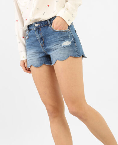 Short denim bordo smerlato blu denim