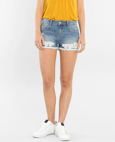 Mini short con guipure blu