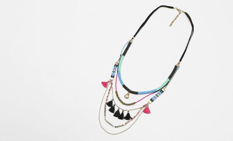 Collana lunga multifili perle e pompon blu