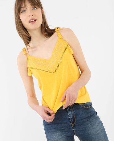 Top à pompons jaune