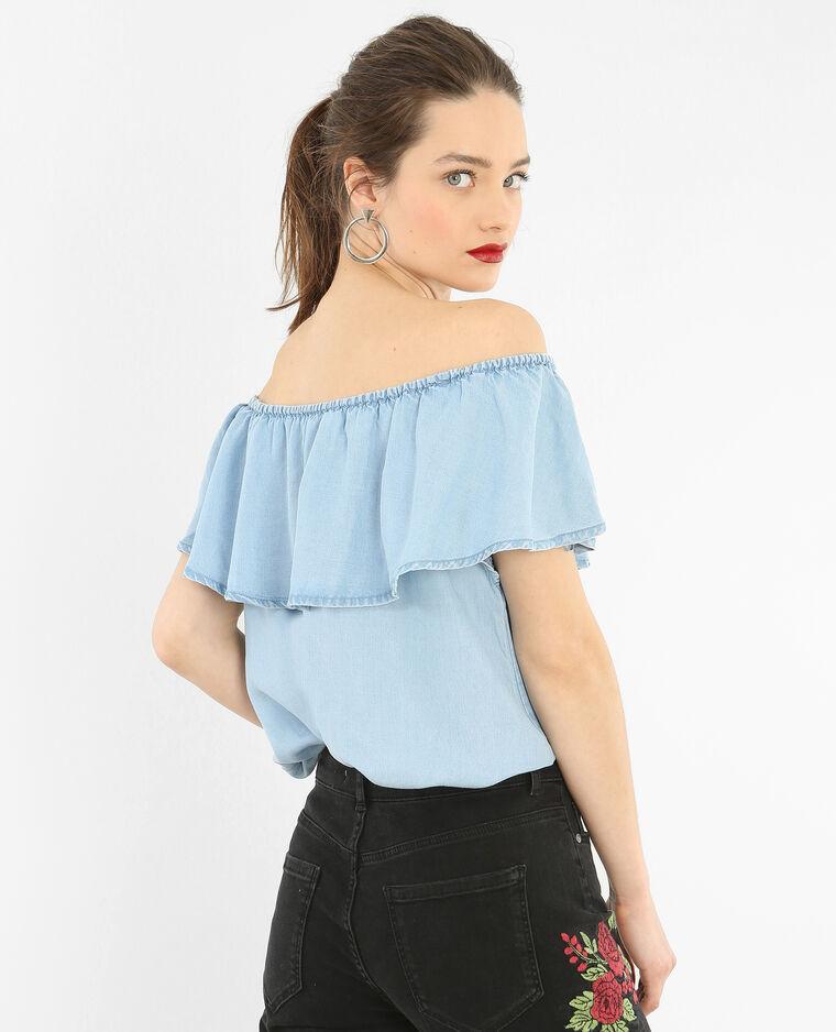 bardot bluse mit r schen blau 40 561385686a06 pimkie. Black Bedroom Furniture Sets. Home Design Ideas