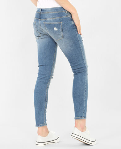 Jean skinny cut genoux beige taupe