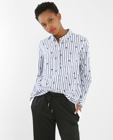 Chemise rayée à palmiers brodés blanc cassé