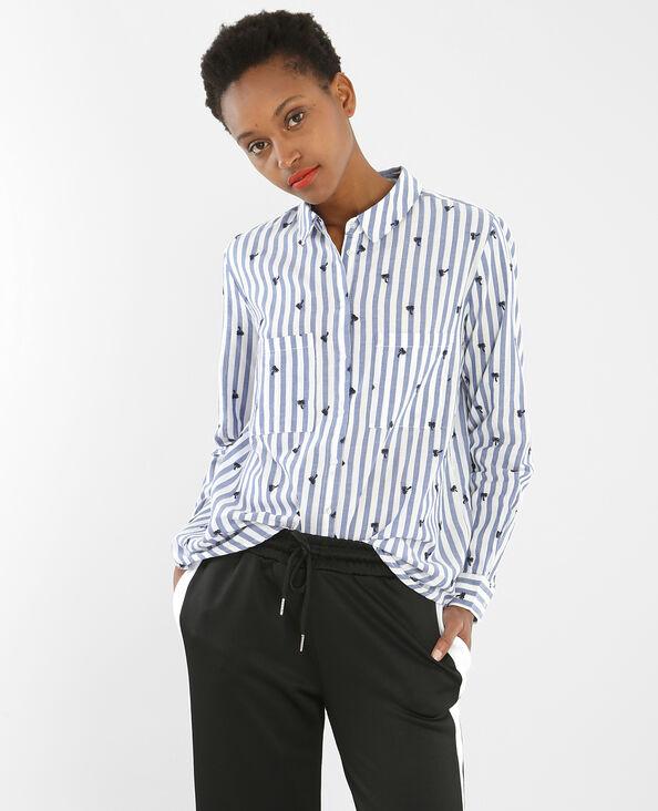 Camisa a rayas palmeras bordadas marfil