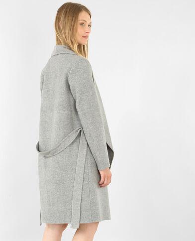 Manteau long gris chiné