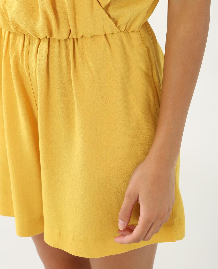 Combishort à volants jaune moutarde