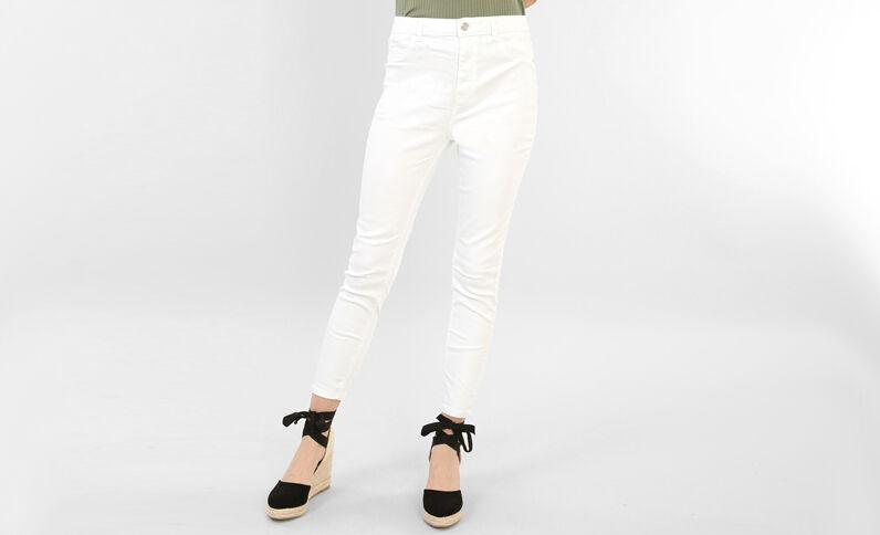 Skinny-Jeans mit hoher Taille Naturweiß