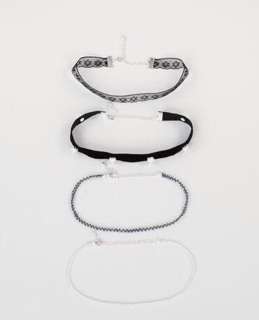 Choker-Halsbänder Silberig