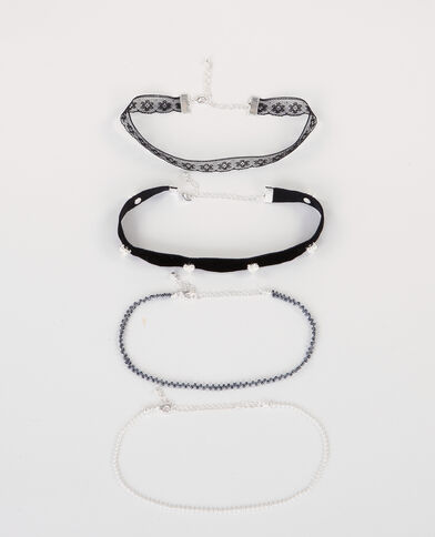 Colliers chokers gris argenté