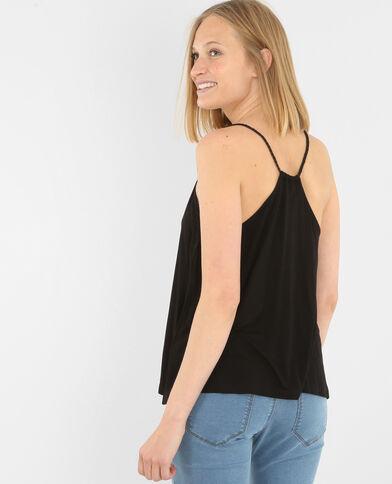 Camiseta de tirantes trenzados negro