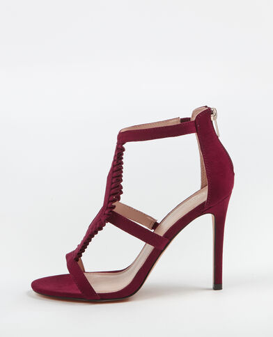 Sandaletten mit Pfennigabsatz Granatrot