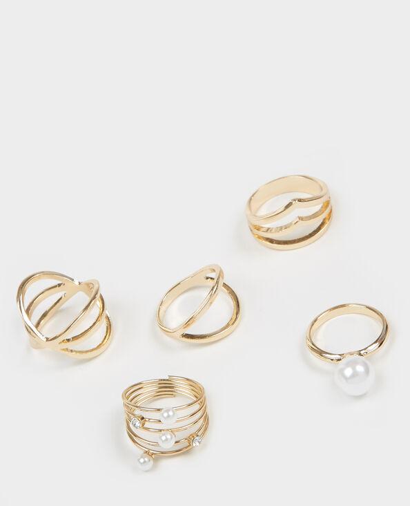 Set met 5 ringen goudkleurig