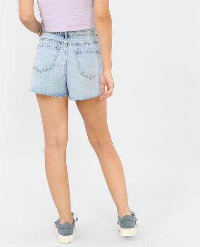 Jeansshort met borduursels blauw