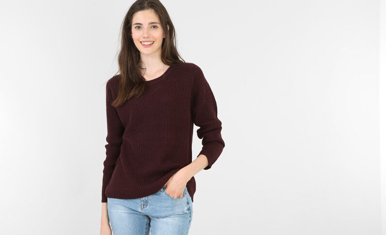 Pull col rond grenat