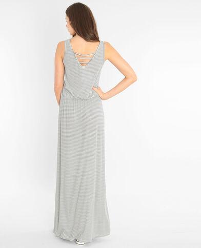 Gestreiftes langes Kleid Altweiß