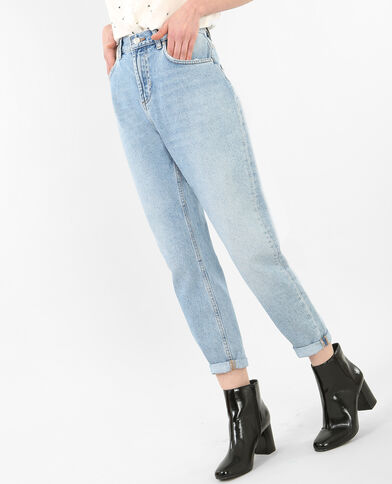Mom-Jeans mit Destroyed-Effekt Blau