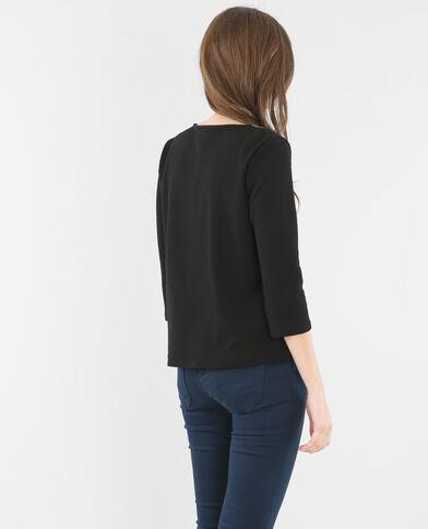 Camiseta cuello bisutería negro