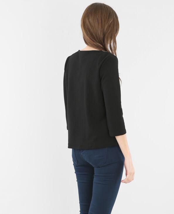 T-shirt col bijoux noir