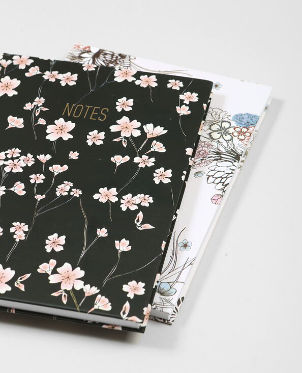 Lot de 2 notebooks imprimé fleuri noir