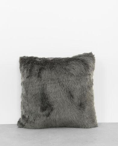 Kissen mit Kunstpelz Grau