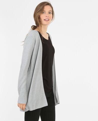 Cardigan maglia a coste grigio chiné
