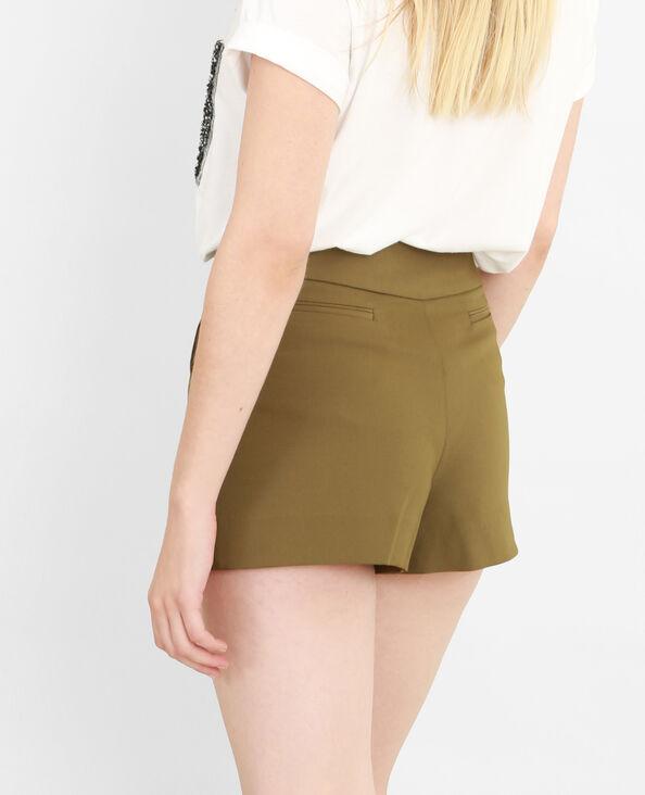 Shorts mit hohem Bund Khaki