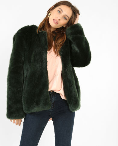 Manteau en fausse fourrure vert sapin
