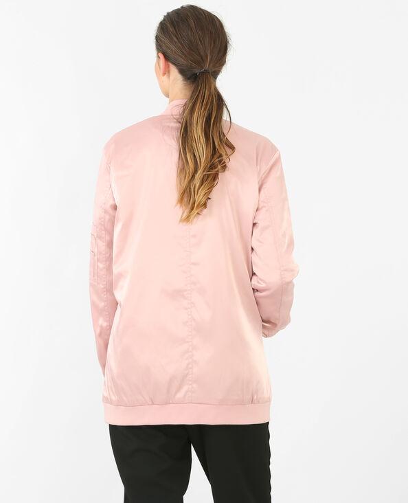 Bomber larga satinada rosa