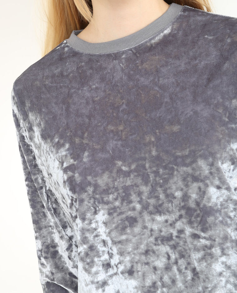 Sudadera de terciopelo gris perla