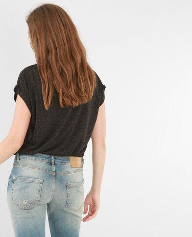 T-shirt collo strass grigio