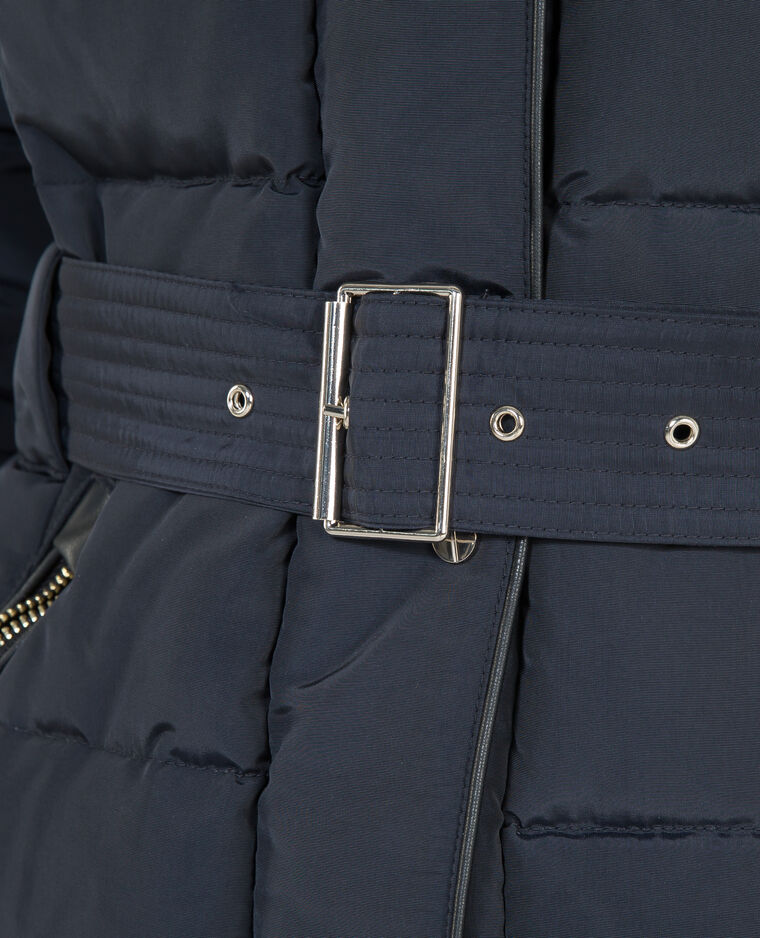 Lange Daunenjacke aus Federn Marineblau