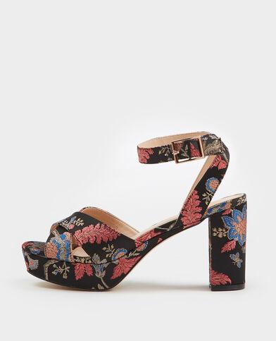 Sandalen in brokaatstijl zwart