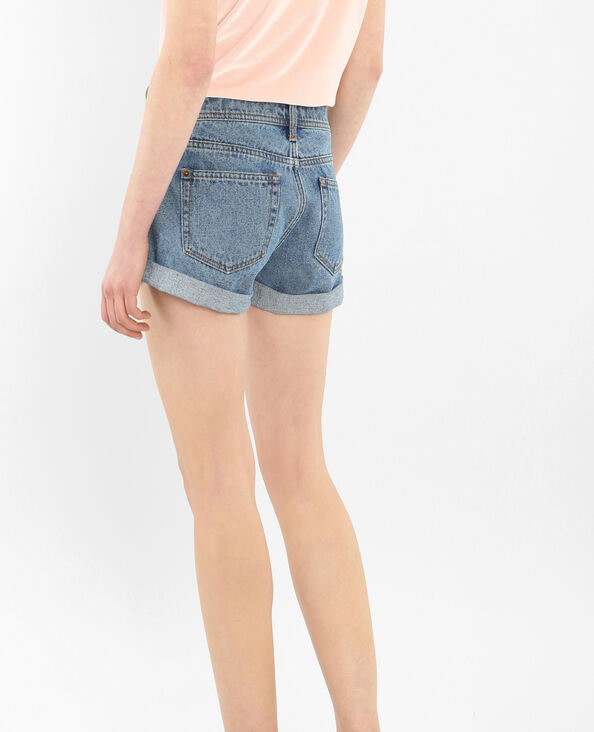 Short denim à revers bleu