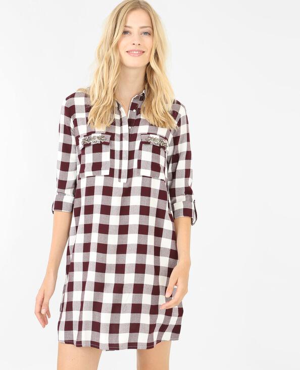Hemdblusenkleid mit verzierter Tasche Bordeauxrot