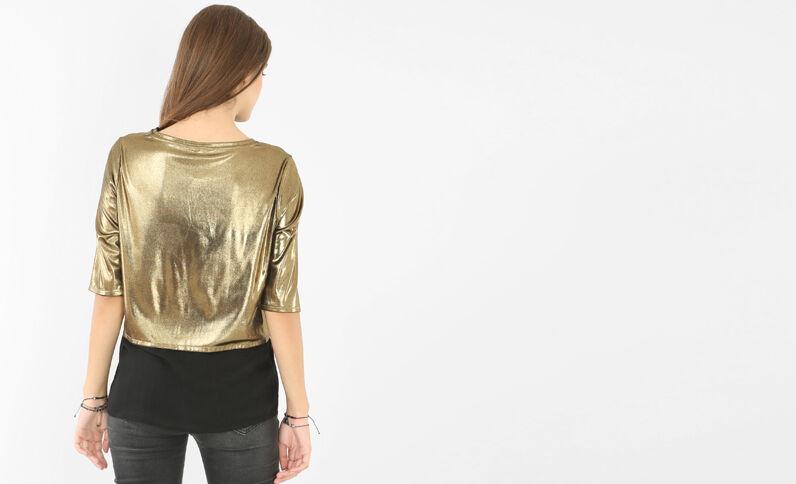 T-shirt metallizzata dorato