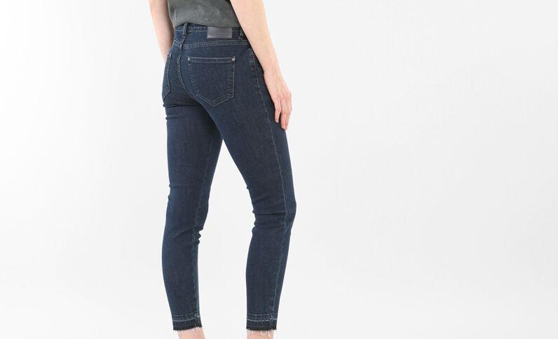 Jean skinny 7/8 taille haute bas décousus bleu