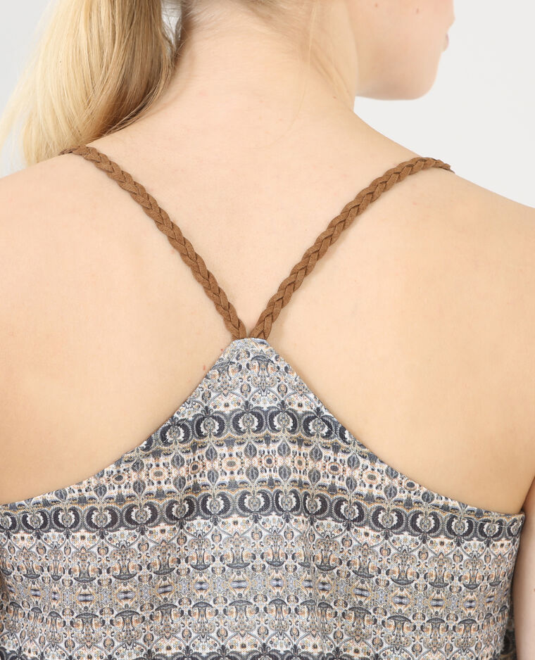 Topje met gevlochten schouderbandjes beige