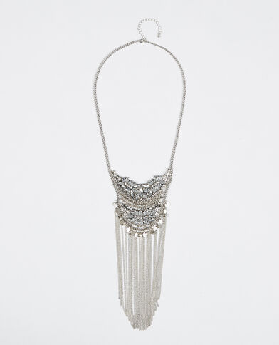 Collana lunga con strass grigio paillettato