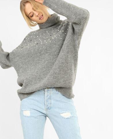 Oversize-Pullover mit Perlen Grau meliert