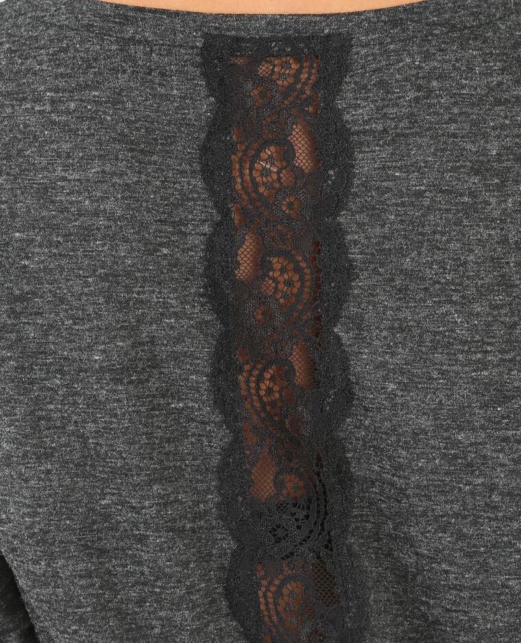 Spitzen-T-Shirt Anthrazitgrau