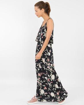Lange bedrukte jurk met gekruiste rug zwart