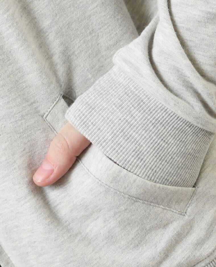 Sudadera con capucha gris jaspeado
