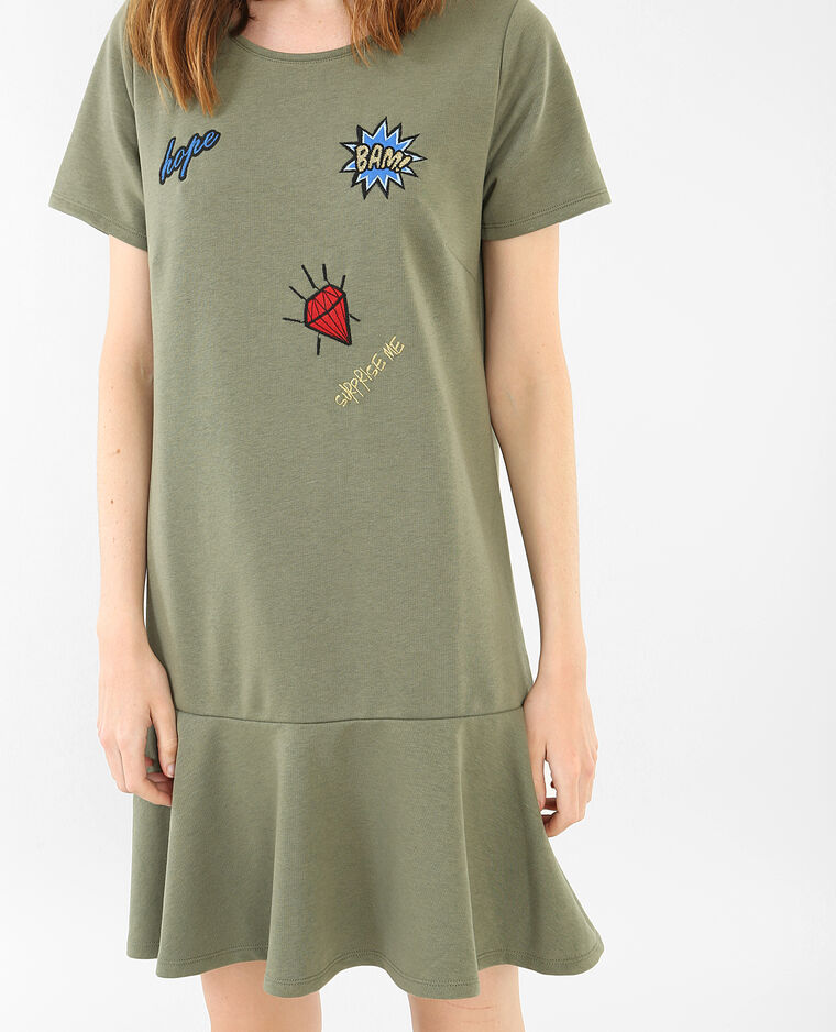 Sweatshirt-Kleid mit Patches Grün
