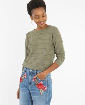 Trui van opengewerkt tricot groen