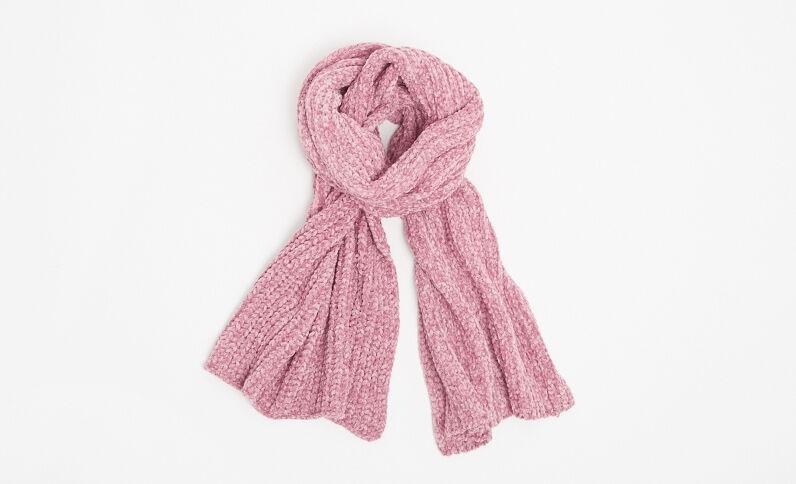 Schal aus Chenillegarn Rosa