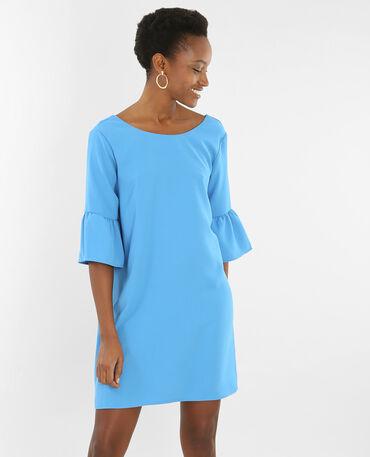 Kleid mit Pagoden-Ärmeln Blau