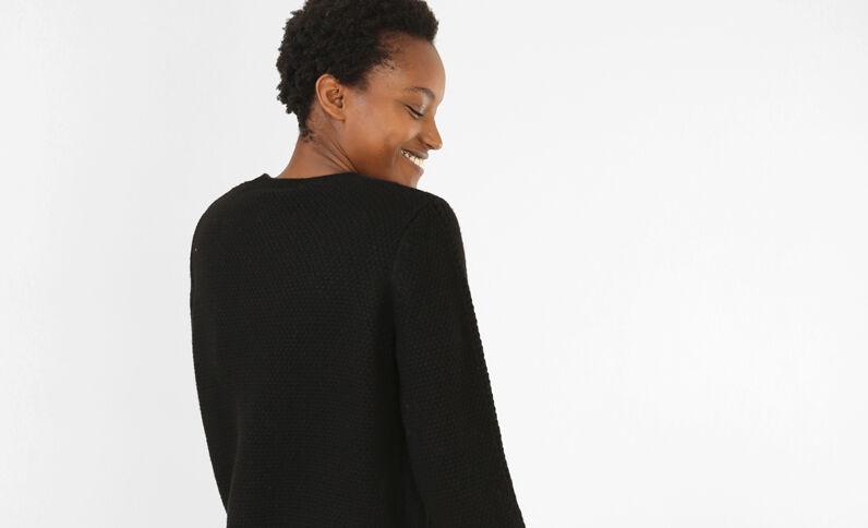 Cropped-Pullover mit Zopfmuster Schwarz