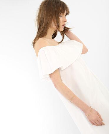 Popeline-Kleid mit Bardot-Ausschnitt Naturweiß