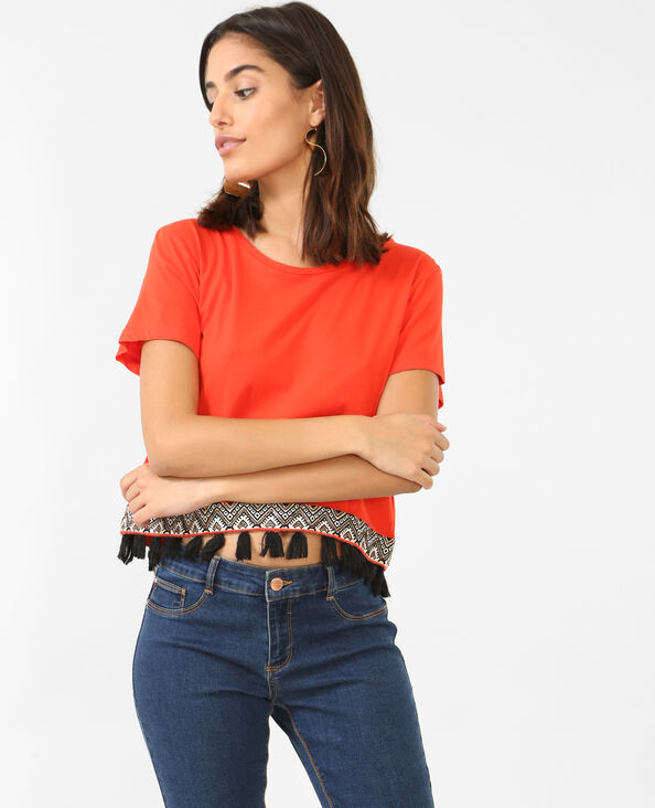 Cropped top à pompons rouge